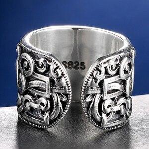 Image 4 - V.YA حقيقية الفضة 925 العرقية نمط خاتم للرجال كبيرة واسعة خواتم ثلاثية الأبعاد واضح محفورة حلقة مفتوحة Vintage الذكور المجوهرات