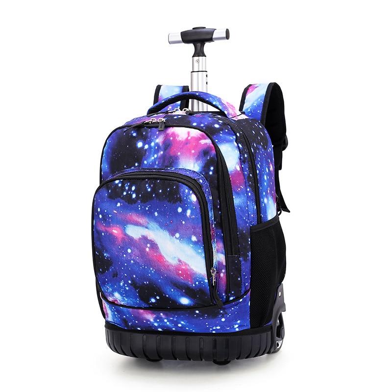 18 Inch Rolling Backpack Travel School Backpacks on Wheel Trolley SchoolBag for Teenagers Boys Children School Bag with Wheels-in School Bags from Luggage & Bags