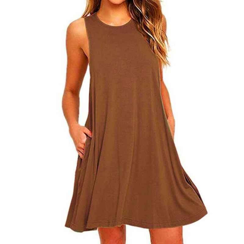 2020 Vrouwen Zomer Toevallige Schommel T-shirt Jurken Beach Cover Up Met Zakken Plus Size Losse T-shirt Jurk