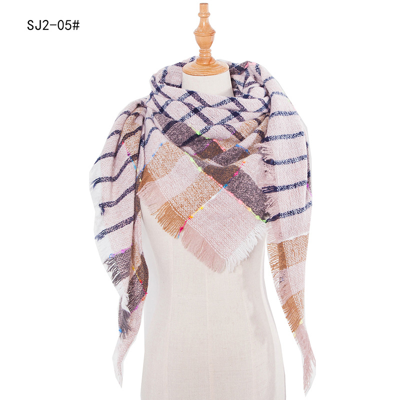 2020 Scarf For Women Wraps Triangle Warm Scarf Plaid Blanket Women's Scarf Woman Dropshipping Cashmere