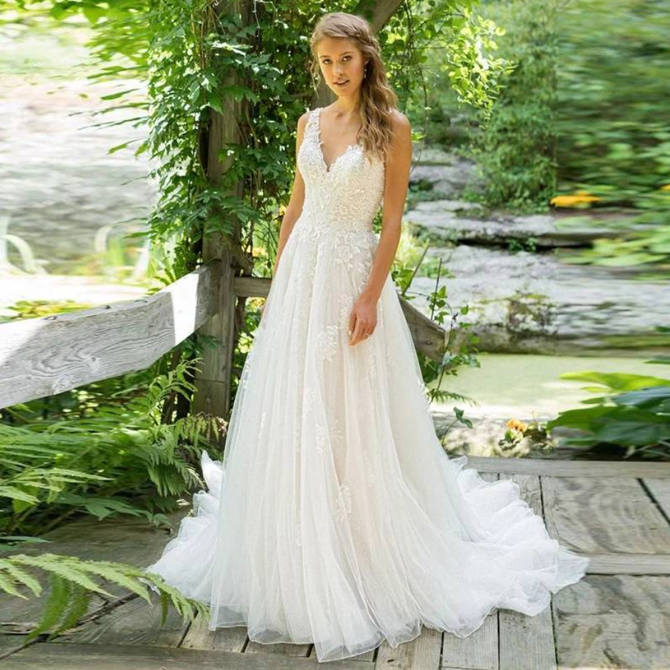 Fansmile Spaghetti Straps V Neck Vestido De Novia A-Line Wedding Dress 2020 Princess Plus Size Vintage Robe De Mariage FSM-037T