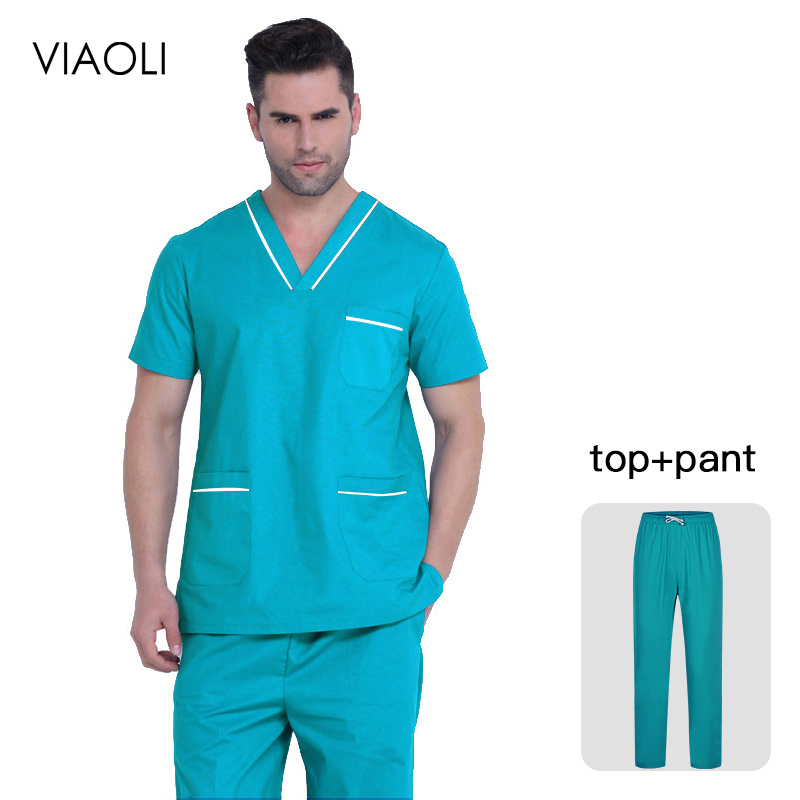 Unisex Scrub Set Classic V-neck Top + Nursing Pants Uniform Doctor Clothes Surgery Overalls Dental Clinic Clothes Scrub Uniforms
