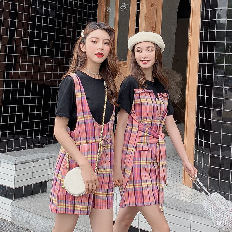 Photo Shoot ~ Contrast Color Pattern Sisters Outfit Splicing Dress Fake Two-Piece WOMEN'S T-shirt Drawstring Wide-Leg Suspender