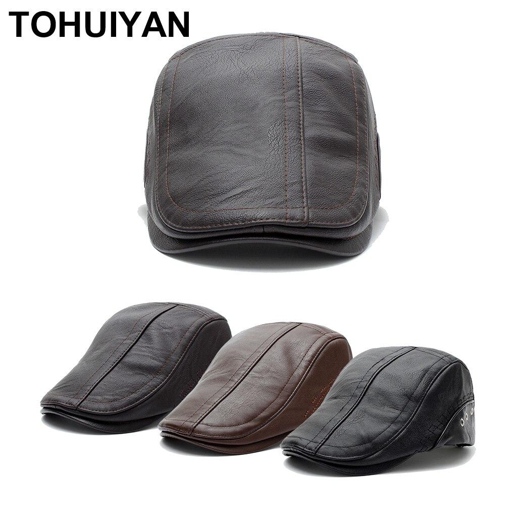 TOHUIYAN Classic Leather Newsboy Cap For Men Casual Boina Cabbie Hat Autumn Winter Warm Flat Caps Fashion Baker Boy Driving Hats