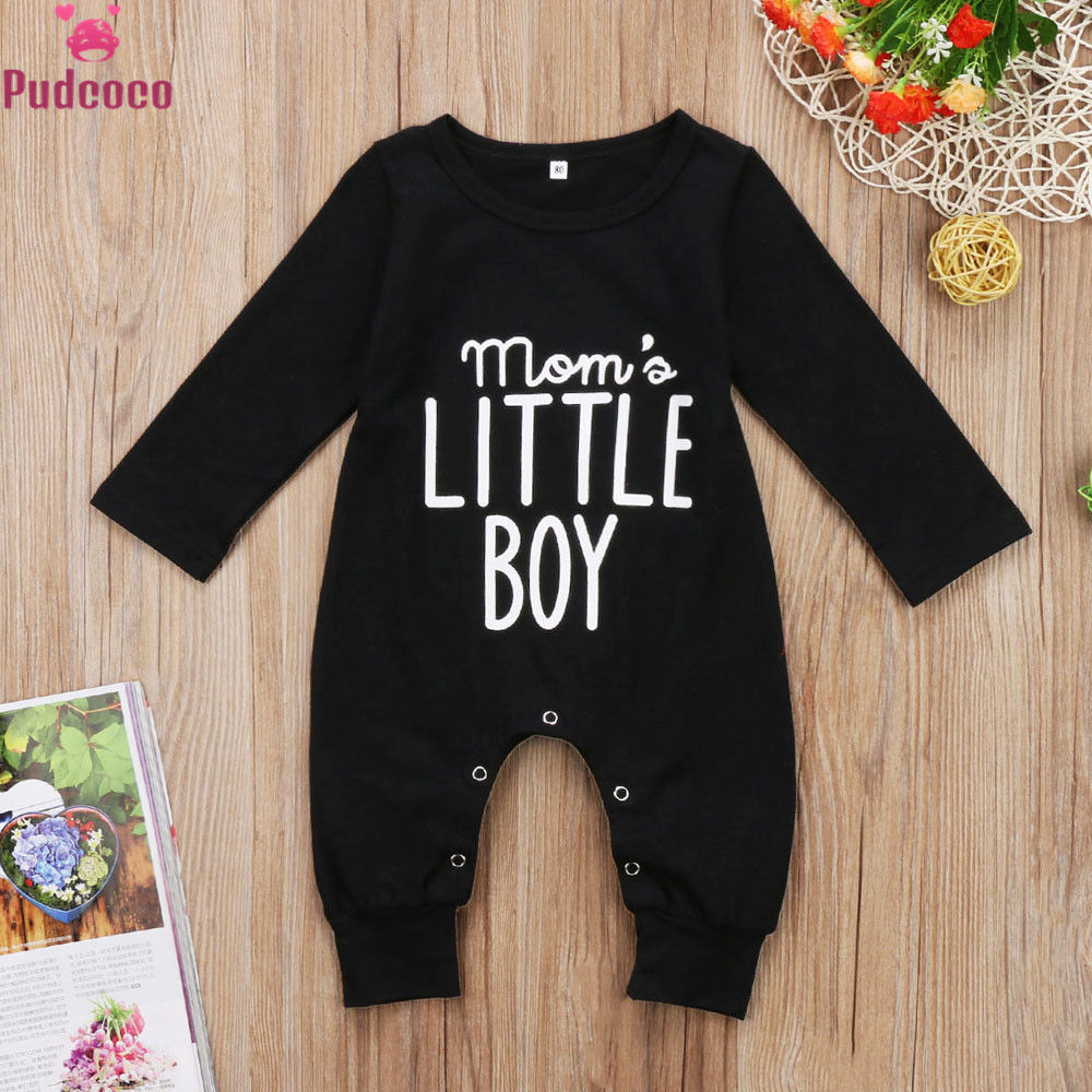 Newborn Infant Toddler Clothes Baby Boy Romper Long Sleeve One Piece Jumpsuit Letter Mom's Little Boy Outfits Black Ropa