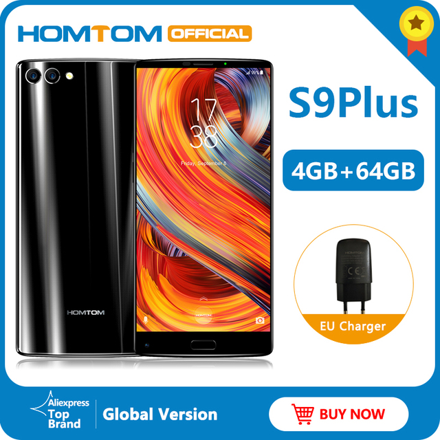 "Global version HOMTOM S9 Plus 18:9 HD+ 5.99"" Tri bezelless Full Display Cell phone MTK6750T Octa Core 4G+64GB 4G LTE Smartphone"