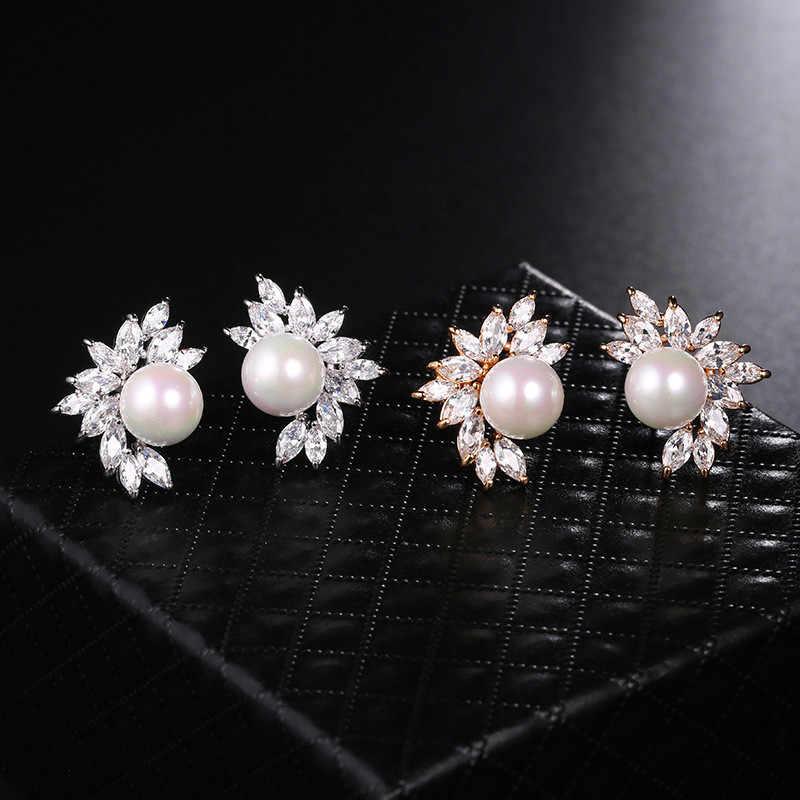 Luxus Weibliche Kleine Blatt Gestüt Ohrringe Nette 925 Sterling Silber Perle Ohrringe Boho Doppel Zirkon Stein Ohrringe Für Frauen