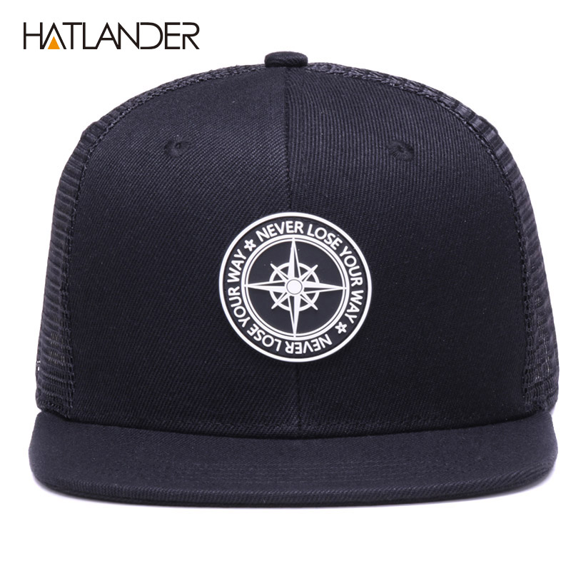 Ha2a1e1da6b274e12968b86ca8d61cec4q - HATLANDER Original Baseball caps for men women black snapback cap high quality cool hip hop cap 6panels bone mesh truck cap hat