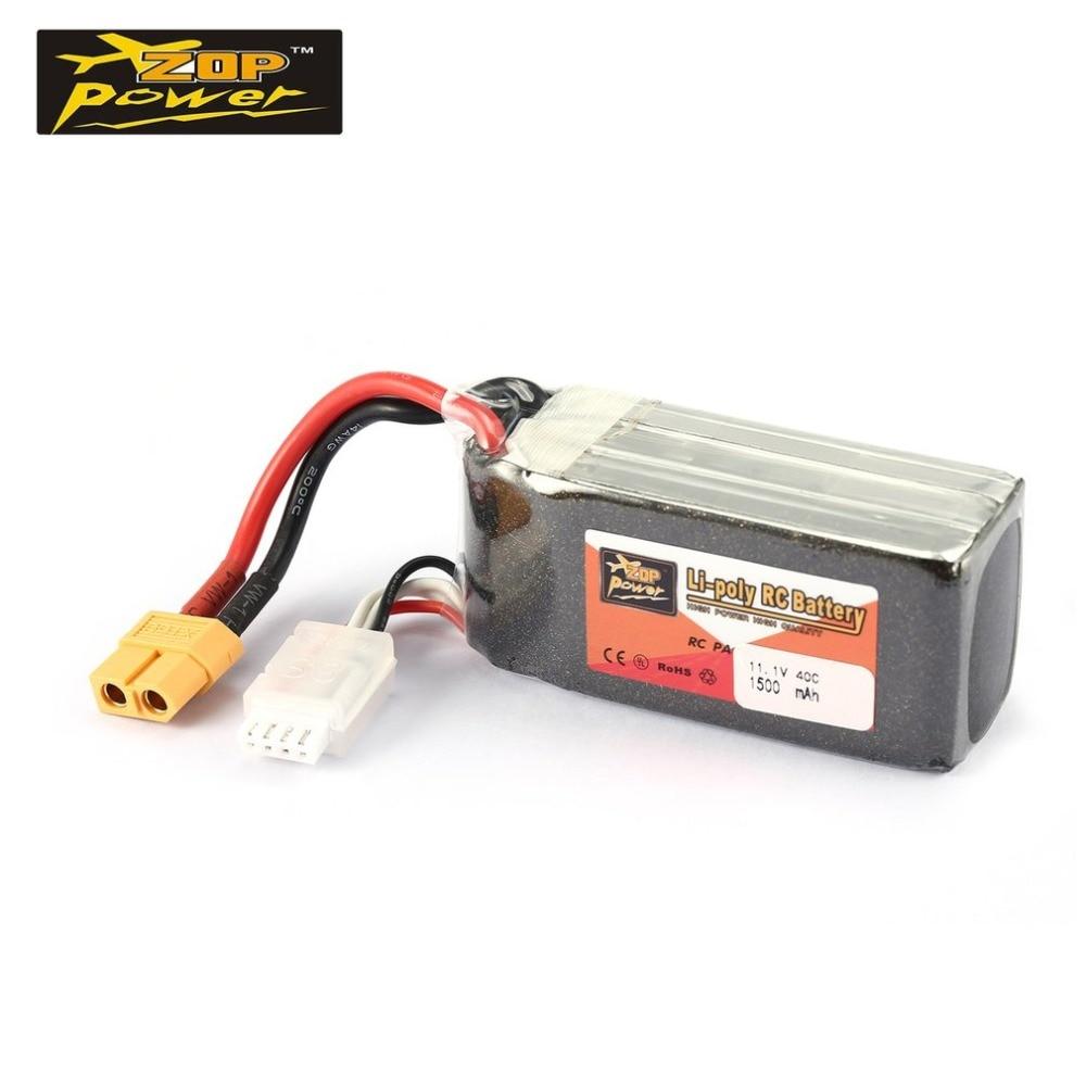 Reachargeable Lipo Battery ZOP Power 11.1V 1500mAh 40C 3S XT60 Plug For RC Model