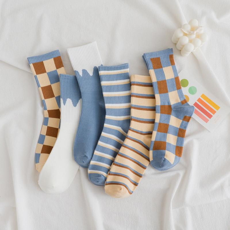 Ins/женские удобные дышащие теплые хлопковые носки в клетку на весну, осень и зиму, женские носки для женщин