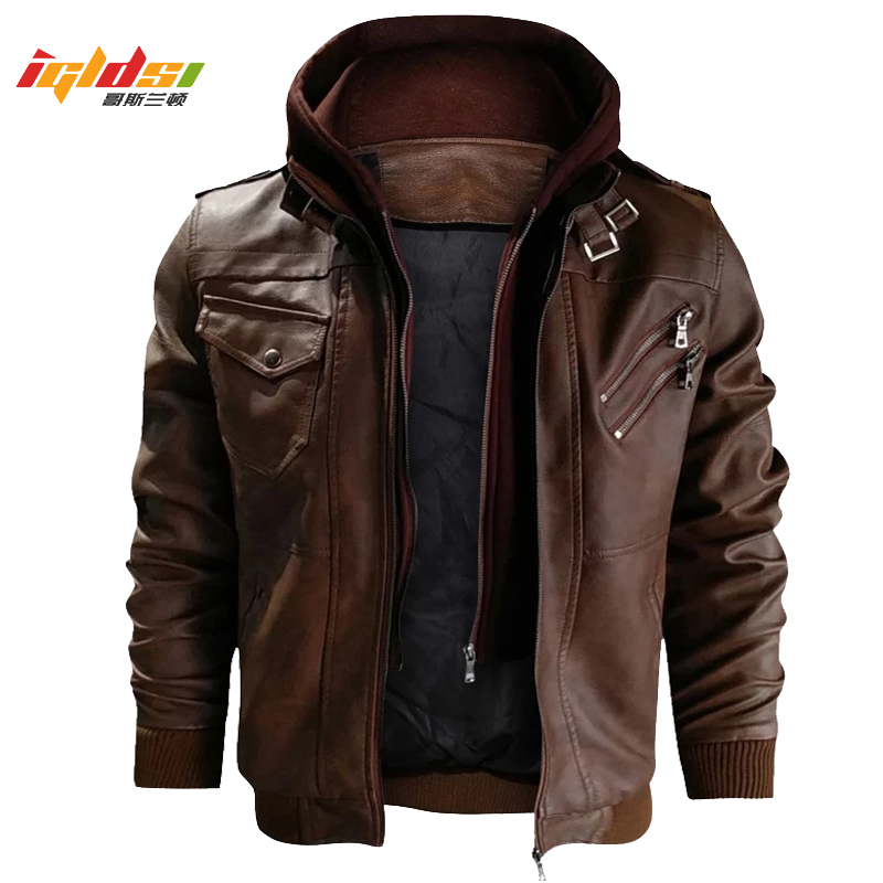Leather Jacket Men's Winter Vintage Motorcycle Biker Faux Leather Jacket Coat Windproof Warm Winter Pilot PU Leather Jackets