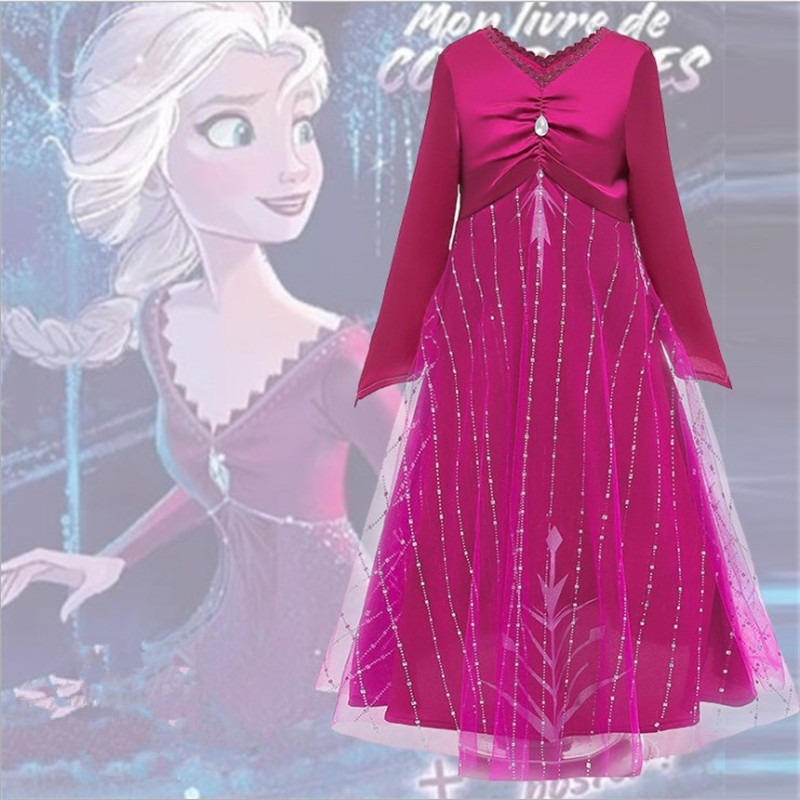 Anime <font><b>Frozen</b></font> <font><b>2</b></font> cosplay <font><b>Anna</b></font> Elsa female child clothing Red dress Princess dress Crown <font><b>wig</b></font> Halloween Party Costume Accessories image