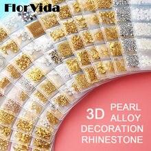 FlorVida 6 Grids Kit 14*8cm Bagged Golden Alloy Studs Nail Art 3D Metal Decorations For Manicure Set Hybrid Rhinestones Design