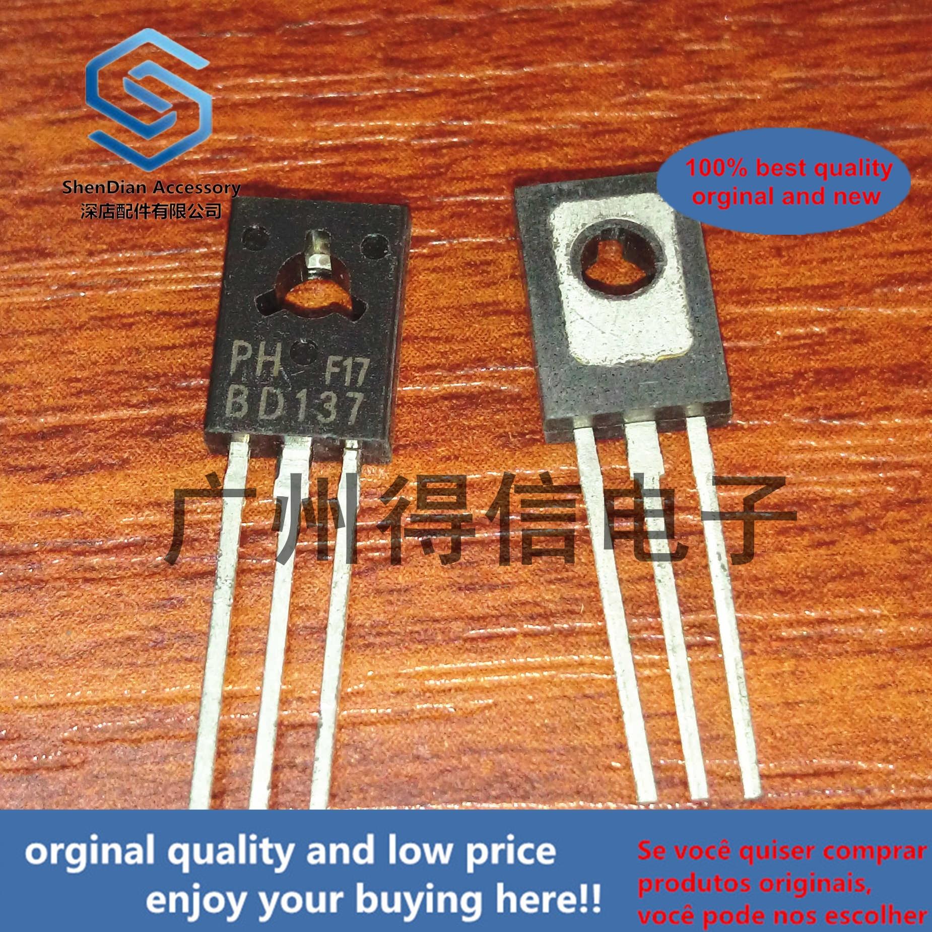 10pcs 100% Orginal New  BD137 137 TO-126 NPN Power Transistors Real Photo