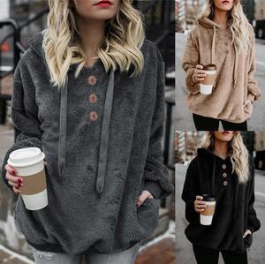 Women Hoodies Sweatshirt Winter Fleece Hoodie Warm Tops Female Solid Button Clothes Ladies Hoody Hoodies Plus Size