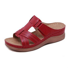 Hot Summer New Female Sandals Car Line Wear-resistant Anti-slip Large Size Retro Wedge With Thick Bottom Comfortable Sandals(China)