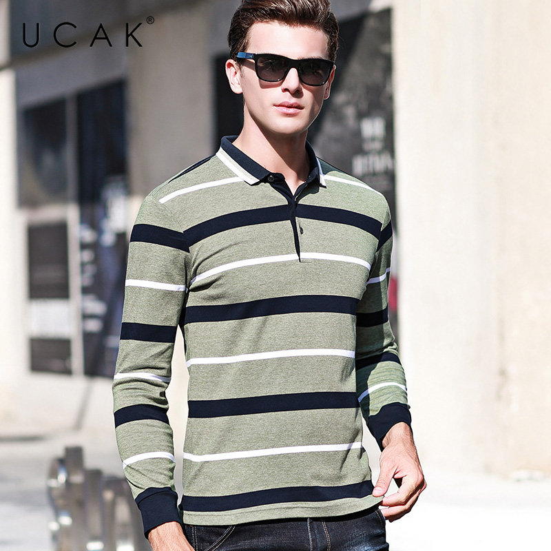 UCAK Brand T Shirt Men Clothes 2019 Autumn Fashion Striped Business Casual T-Shirt Long Sleeve Cotton Tee Homme U5002
