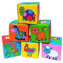 6 pçs/set Pano Blocos de Construção Novo Infantil Do Bebê Da Boneca de Pano Macio Rattle precoce Educacional Chocalhos Do Bebê Girafa Jogo Pano Cubo brinquedo