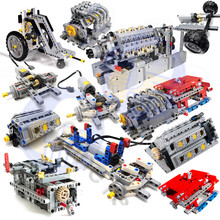 MOC 4911 V42 Engine Technic 8 SPEED SEQUENTIAL GEARBOX Drive Front Suspension Steering Car Chassis System Building Blocks Toys