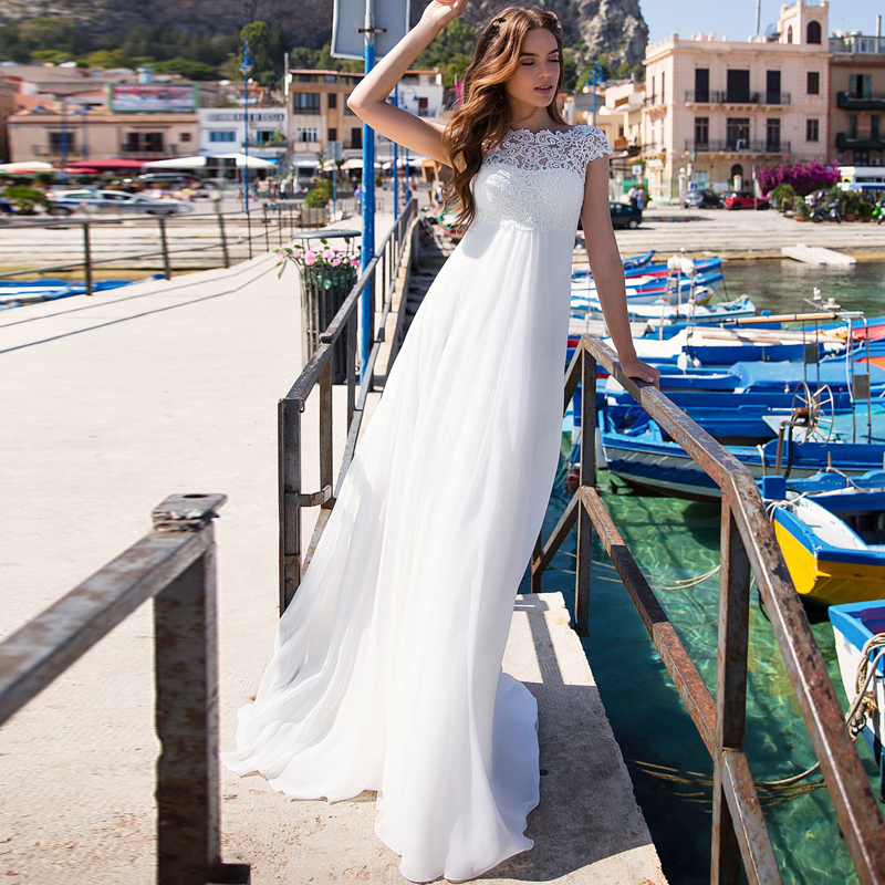 Simple Jewel Cap Sleeves Empire Waist Wedding Gowns Chiffon Bridal Dresses For Pregnant Woman Robe De Mariee