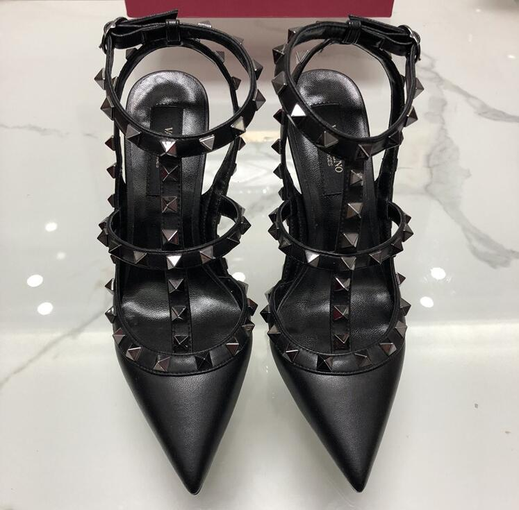 Women Full Black Matte <font><b>Platform</b></font> Pumps <font><b>Sexy</b></font> Point Toe Rivet <font><b>High</b></font> <font><b>Heel</b></font> Shoes Fashion Buckle Studded Stiletto <font><b>Sandals</b></font> 34-43 Box image