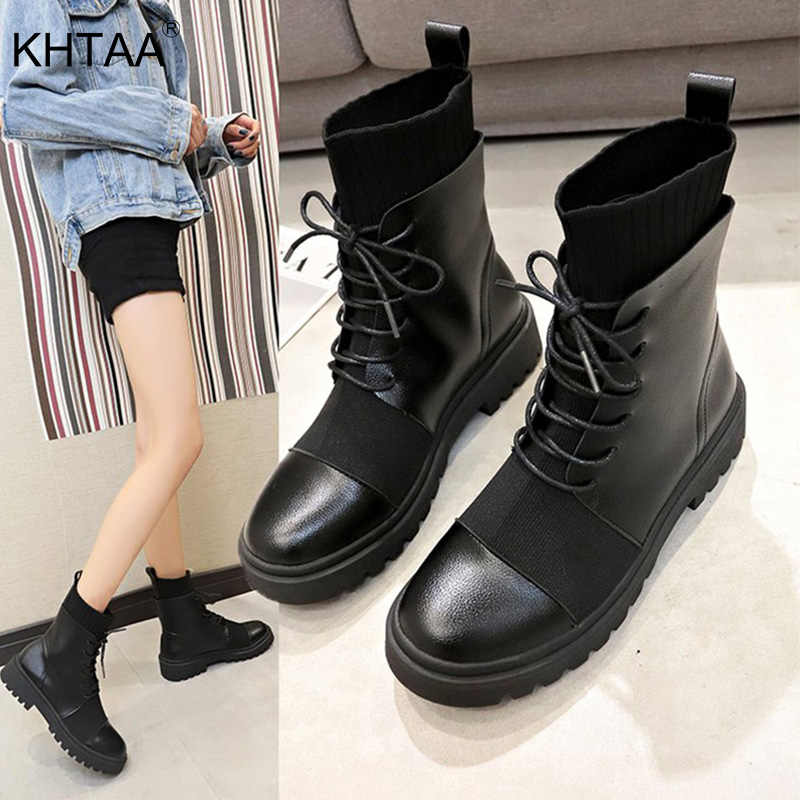 Spring Boots Women Shoes Woman Fashion Platform Round Ankle Boots 2020 Lace Up Black Motorcycle Boots Comfortable Cool Girls