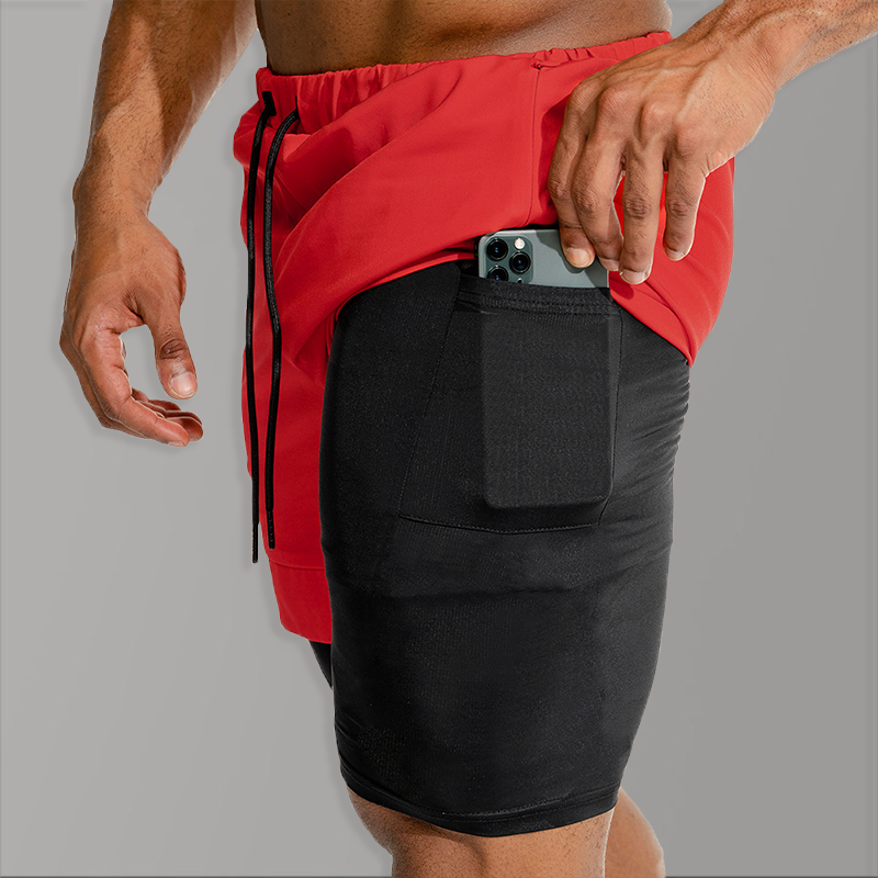 Men 2 In 1 Compression Fitness Shorts Men Bodybuilding Causal Shorts Male 2020 Gym Summer Quick Dry Beach Short Homme