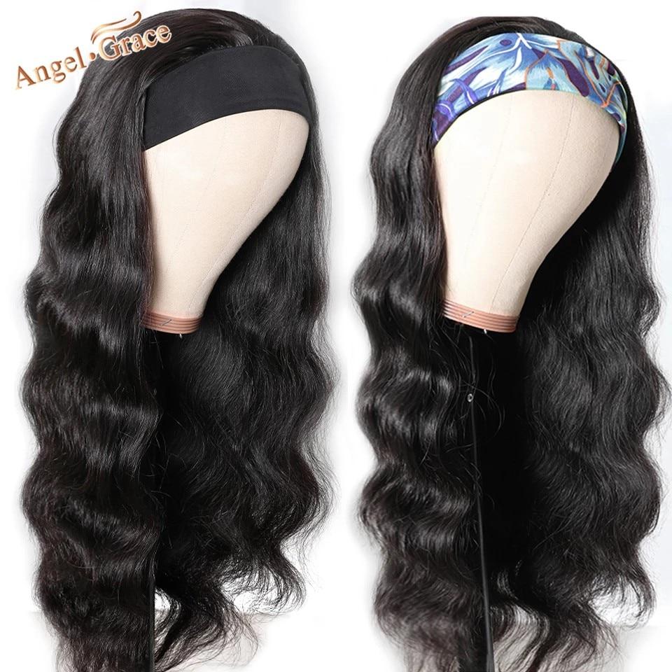 Angel Grace bandeau vague de corps 100% perruque de cheveux humains brésilien vague de corps partie libre perruques dentelle fermeture perruque