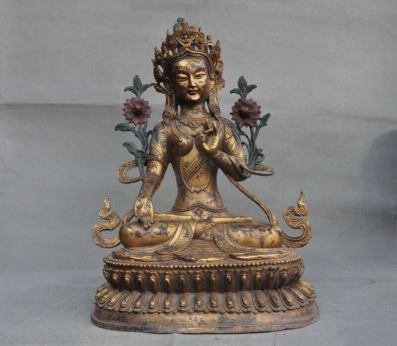 Wedding Decoration Tibet Buddhis Bronze Copper Gilt Tara Guanyin Kwan-yin Bodhisattva Buddha Statue