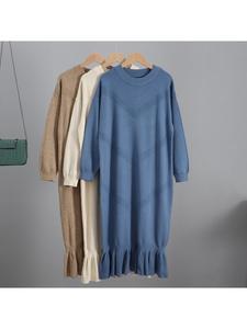 Sweater Dress Pullover Oversized Women Maxi GIGOGOU Long-Knit Straight Autumn Winter