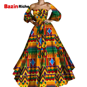 Bazin Riche African Women Clothing Sexy Long Wedding Dresses Lady Print Party Vestidos African Print Dresses Plus Size WY6074