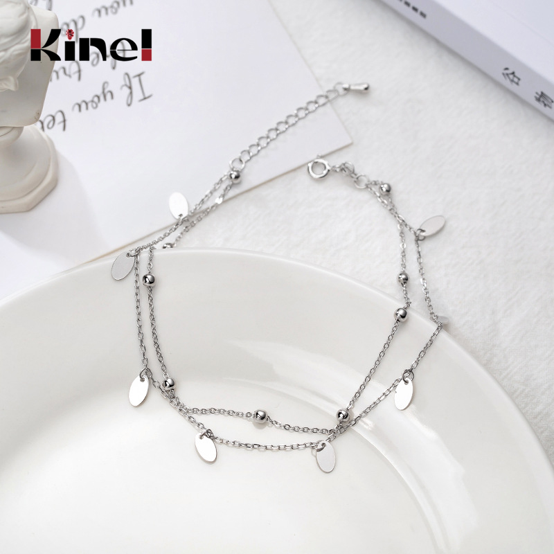 Kinel New Fashion 100% 925 Sterling Silver Anklets for Women Bracelet On The Leg Chains Real Sterling Silver Girl Anklet Jewelry
