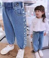 Новое платье для девочек джинсы на осень, весну, детские джинсы, комплекты модной детской жемчугом милые брюки выглядеть вашему красивому р...