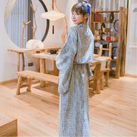 Unisex Japanese style long silk cotton hot spring sauna clothes for boy and girl sexy 100% Cotton bathrobe Customized for you