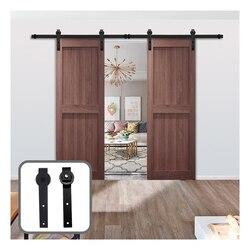 Gifsn Sliding Barn Door Steel Hardware Kit Closet Door Hardware J-Shaped Hangers for 4-9.6FT Double Door