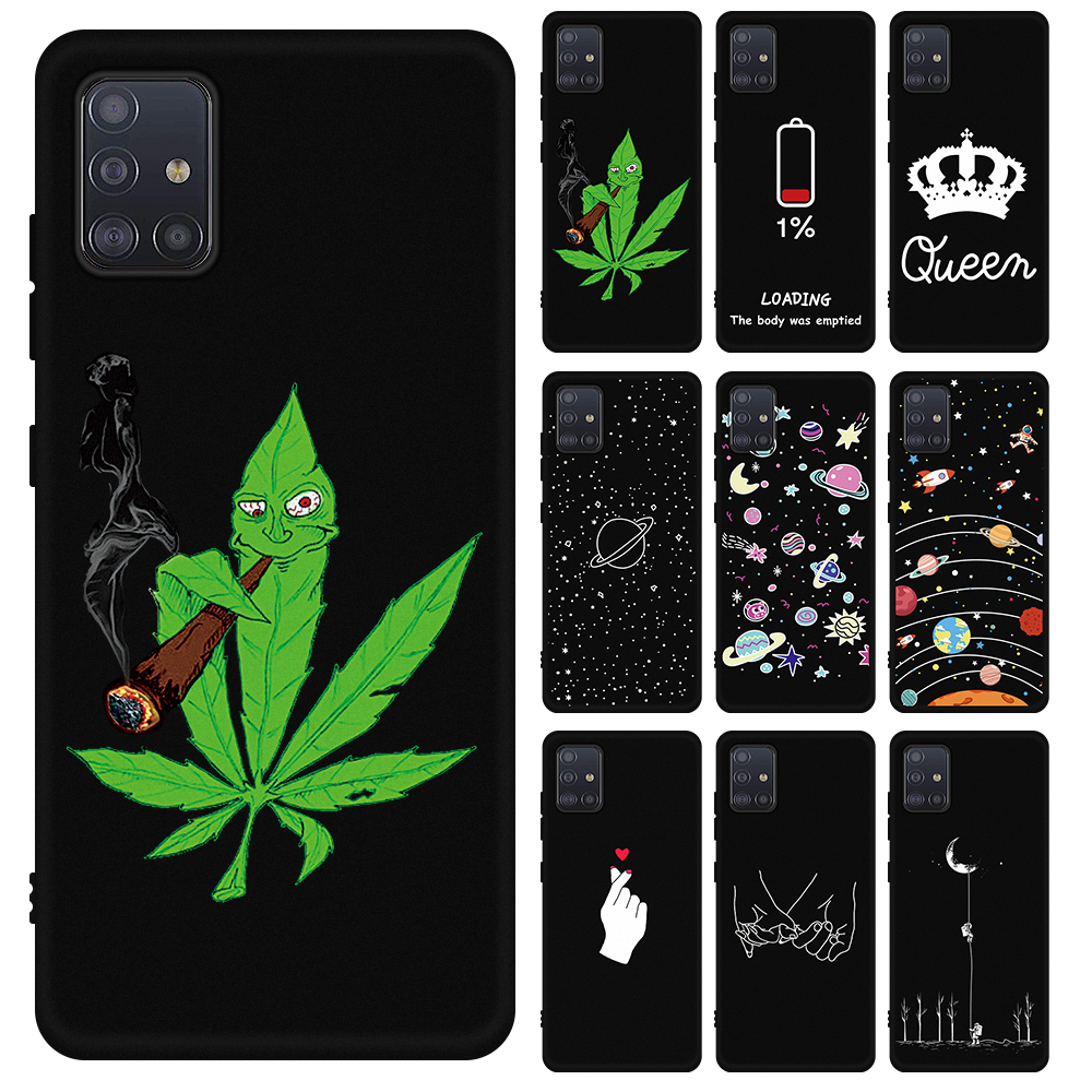 Cute Heart Phone Case For Samsung Galaxy A51 A71 2019 Soft Silicone Cover For Samsung A51 A71 A515 A717 A 51 71 Moon Space Cases