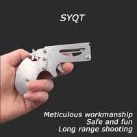 Мини-Револьвер пистолет с резиновой лентой складной высококачественный из нержавеющей стали мини-пистолет детский подарок игрушка непрер...