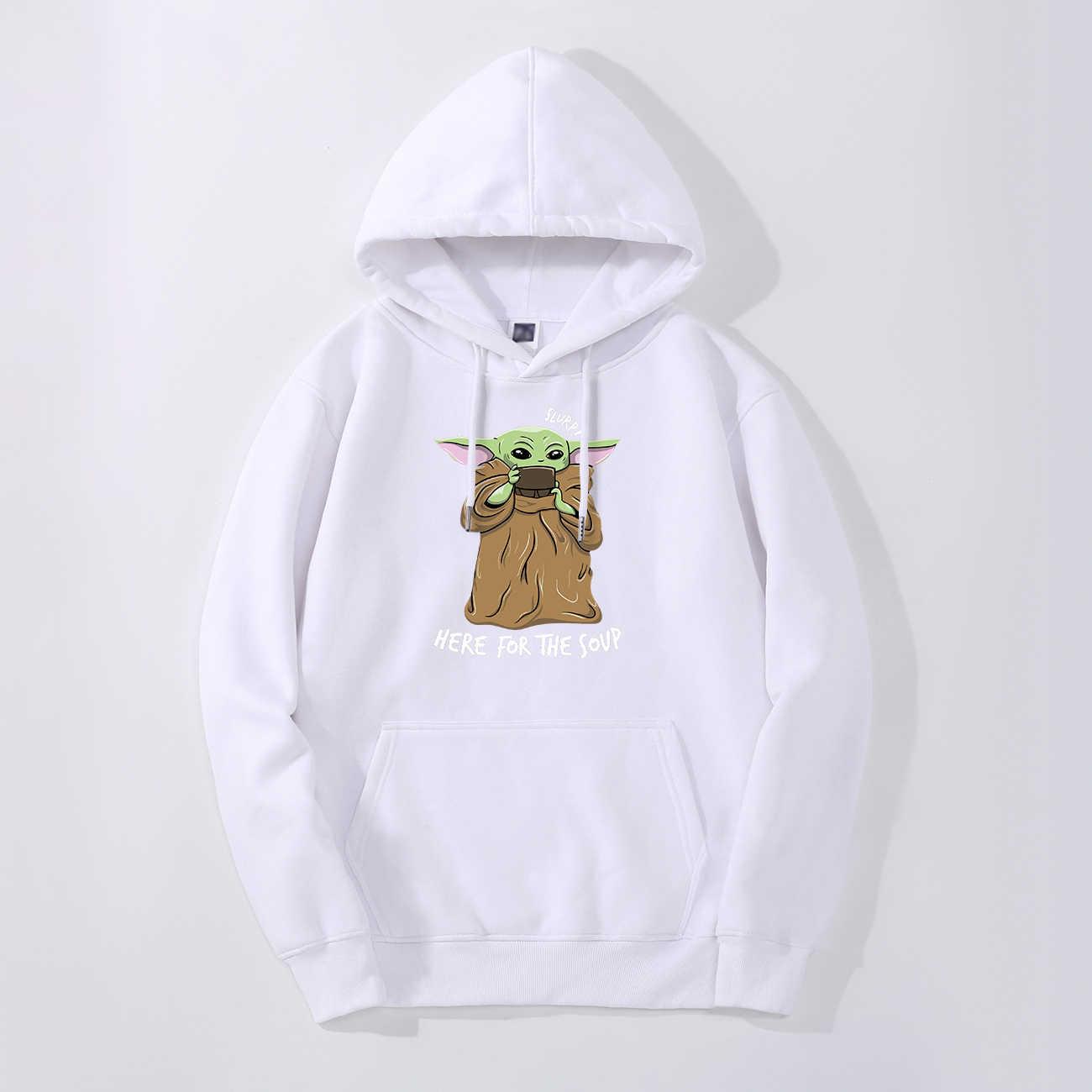 귀여운 아기 Yoda 까마귀 스웨터 양털 Mandalorian 남자 후드 가을 겨울 후드 스타 전쟁 Streetwear 패션 스포츠웨어
