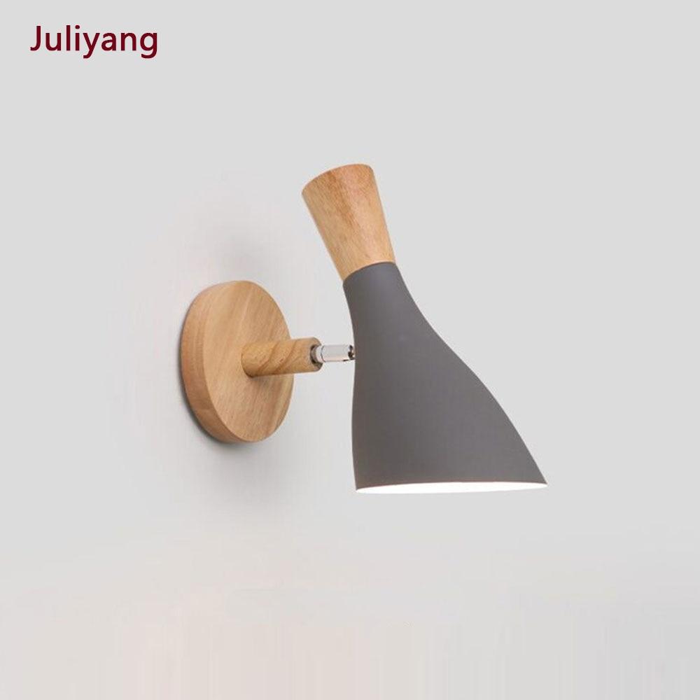 Nordic Minimalist Creative Macaron Solid Wood Wall Lamp Bedroom Bedside Living Room Study Aisle Sconce Lamp