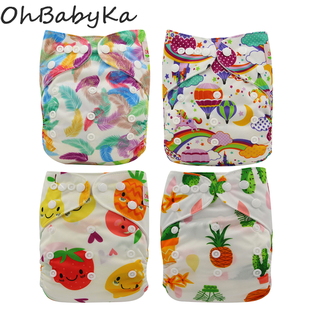 Reusable Nappies Ohbabyka PUL Waterproof Newborn Washable Diapers Nappy Cover Suede Breathable Baby Panties One Size Fits All