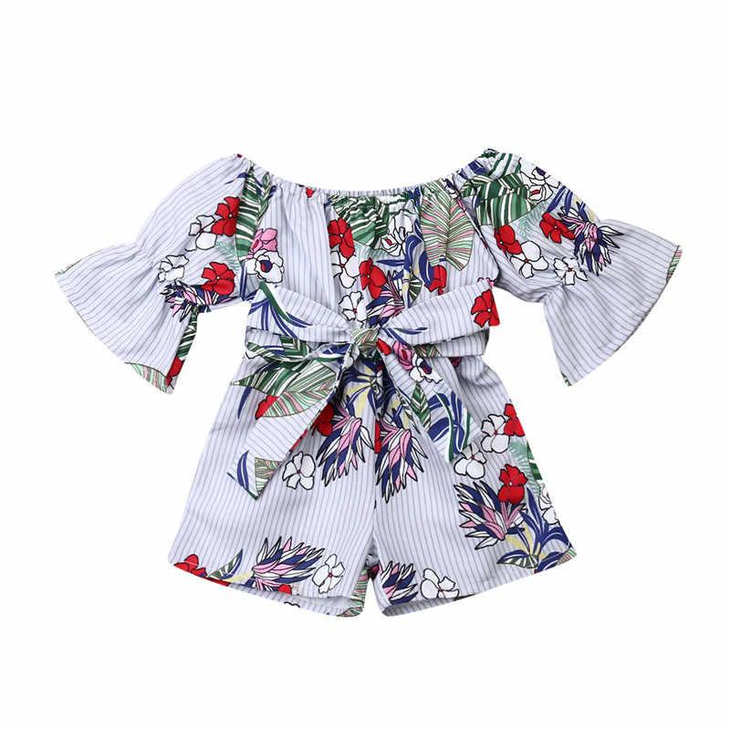 חדש Boho סגנון נסיכת תינוק בנות פרחוני Rompers מכתף התלקחות שרוול קשת פסים סרבל Playsuit חוף חליפת קיץ בגדים