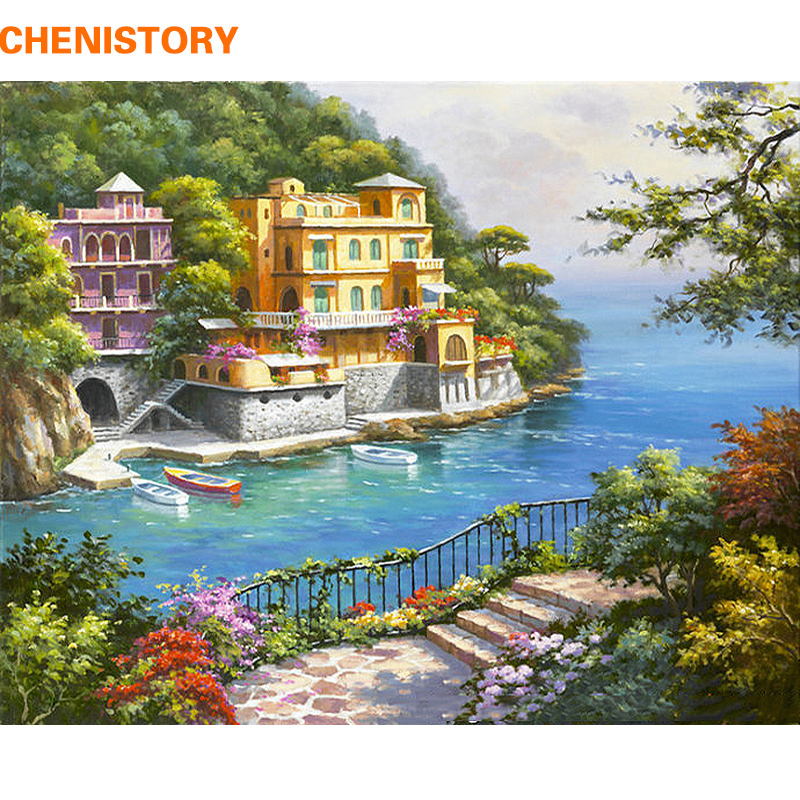 CHENISTORY Pre Framed Landscape DIY Painting By Numbers Modern Wall Art Picture Acrylic Paint On Canvas CHENISTORY Pre-Framed Landscape DIY Painting By Numbers Modern Wall Art Picture Acrylic Paint On Canvas For Home Decors Artwork