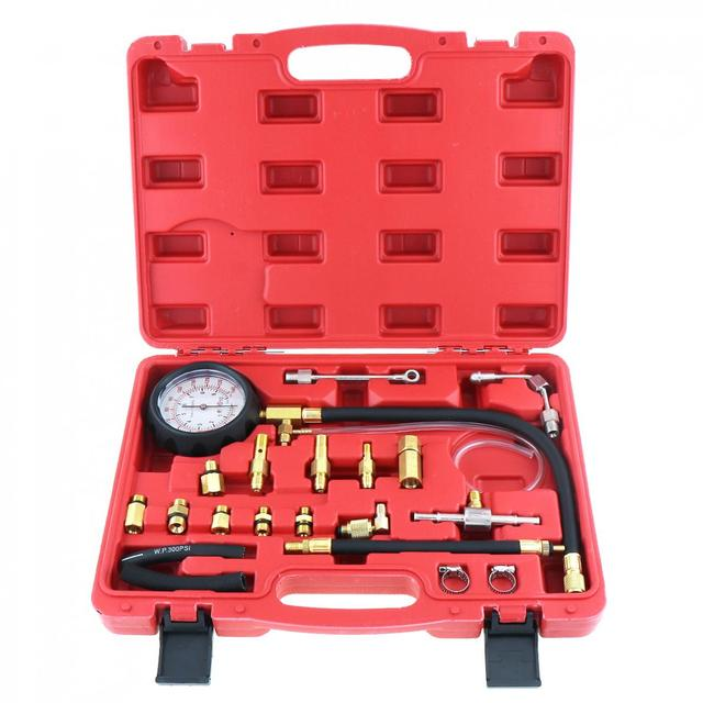 TU 114 0 140PSI / 0 10 Bar Tragbare Compression Kraftstoff Injektion Druck Auto Auto Diagnose Tester Tools Kit mit Sicherheit ventil