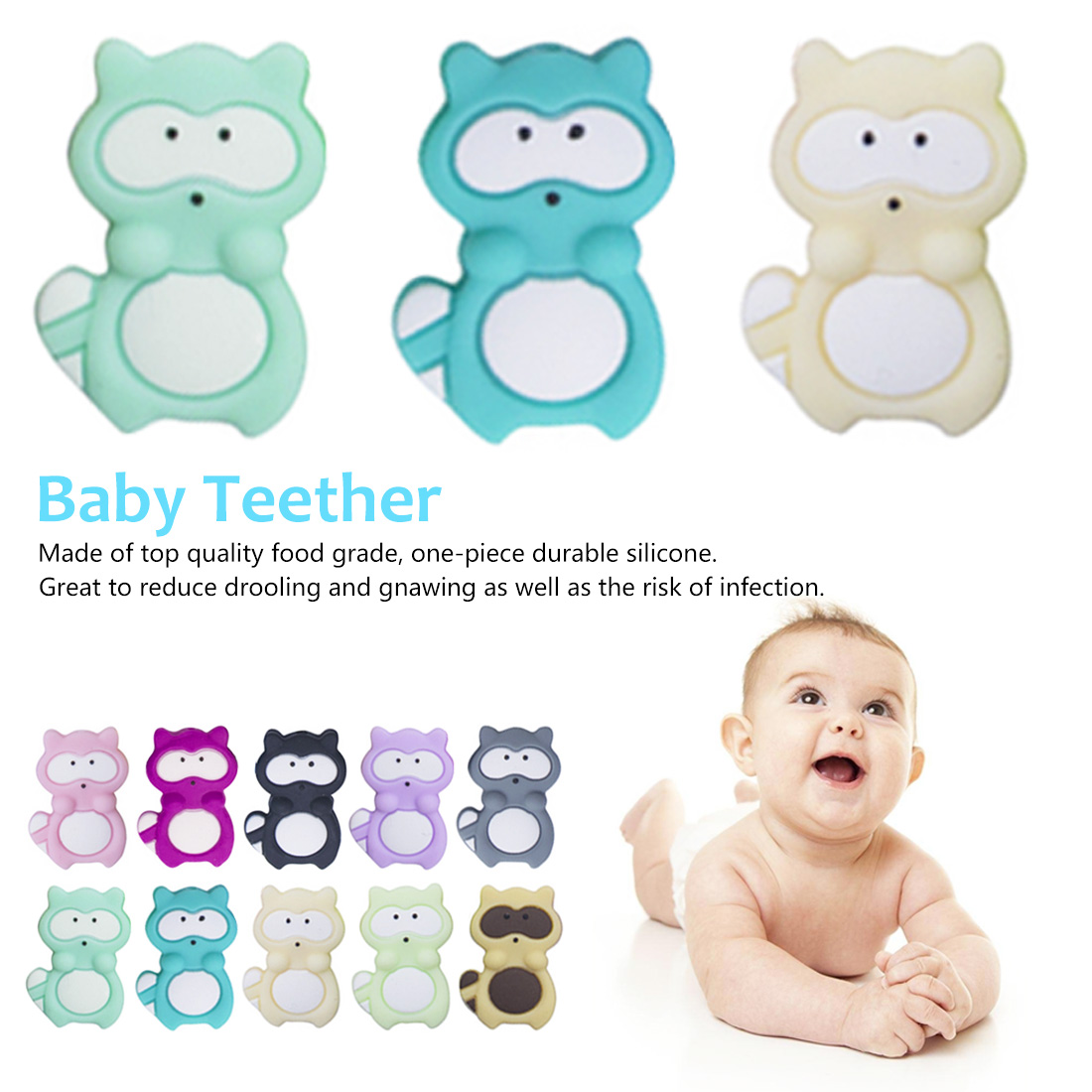3pcs Silicone Raccoon Beads Animal Pacifier Clip Accessories Baby Teether BPA Free DIY Loose Beads For Teething Necklace