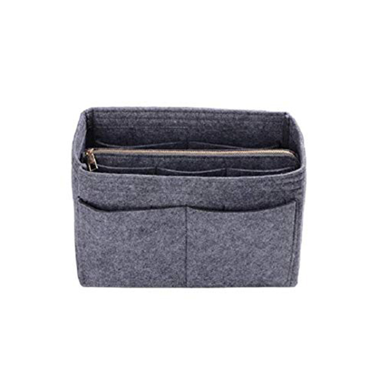 Home Storage Bag Purse Organizer Felt Insert Bag Makeup Organizer Inner Purse Portable Cosmetic Bags Storage Tote Grey XL image