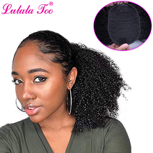 цена на Short Drawstring Puff Afro Kinky Curly Ponytail Wig Synthetic Hair Chignon Bun Hairpiece For Women Clip in Hair Extension