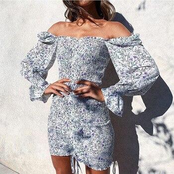 2020 Trendy Square Neck Floral Print Dress Women Long Sleeve Bodycon Mini Dress Boho Beach Dress for Girls Clothing stylish floral print mini cami dress for women