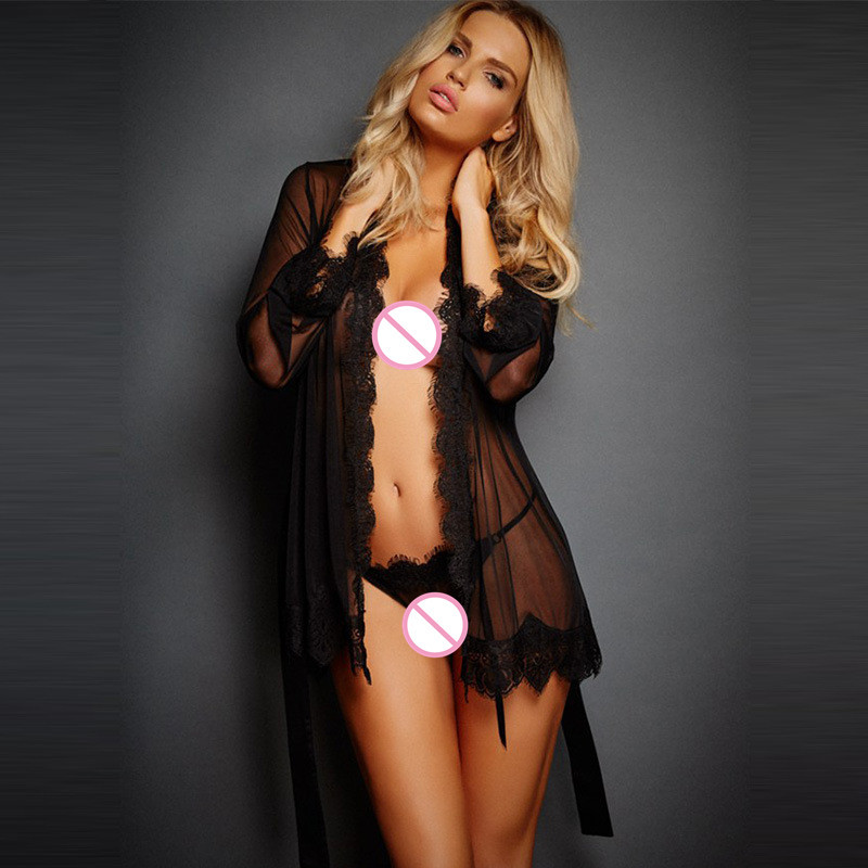Sexy Lingerie For Bathrobes Mesh Eyelashes Lace Nightdress Sexy Pajamas Intimate Goods Pornography For Sex Erotic Costumes