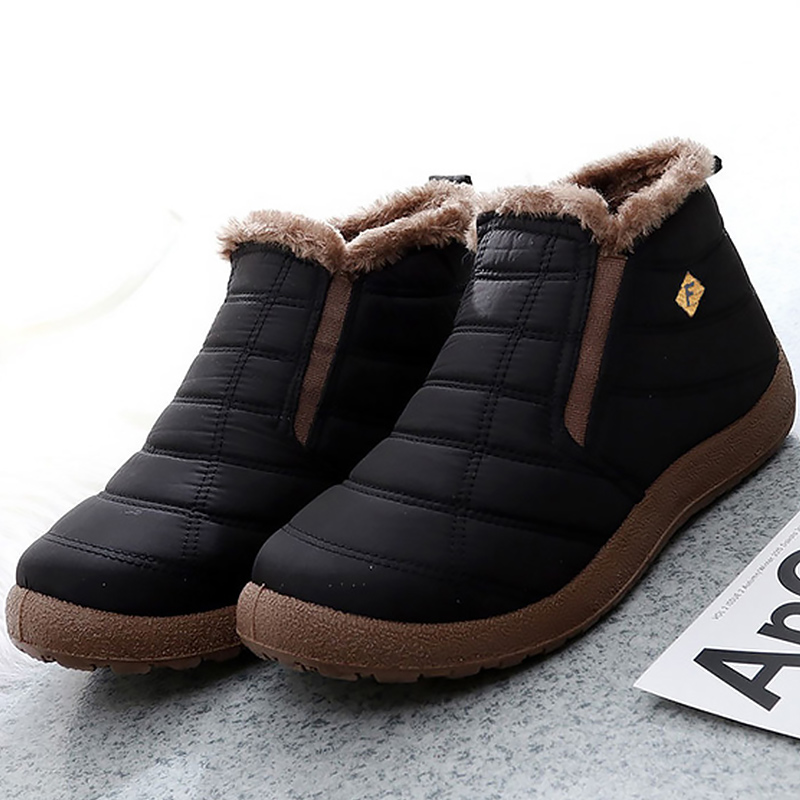 Men's Boots Platform Slip On Warm Winter Shoes Men Non Slip Sturdy Sole Light Weight Velvet Soft Snow Boots For Male 2019 New