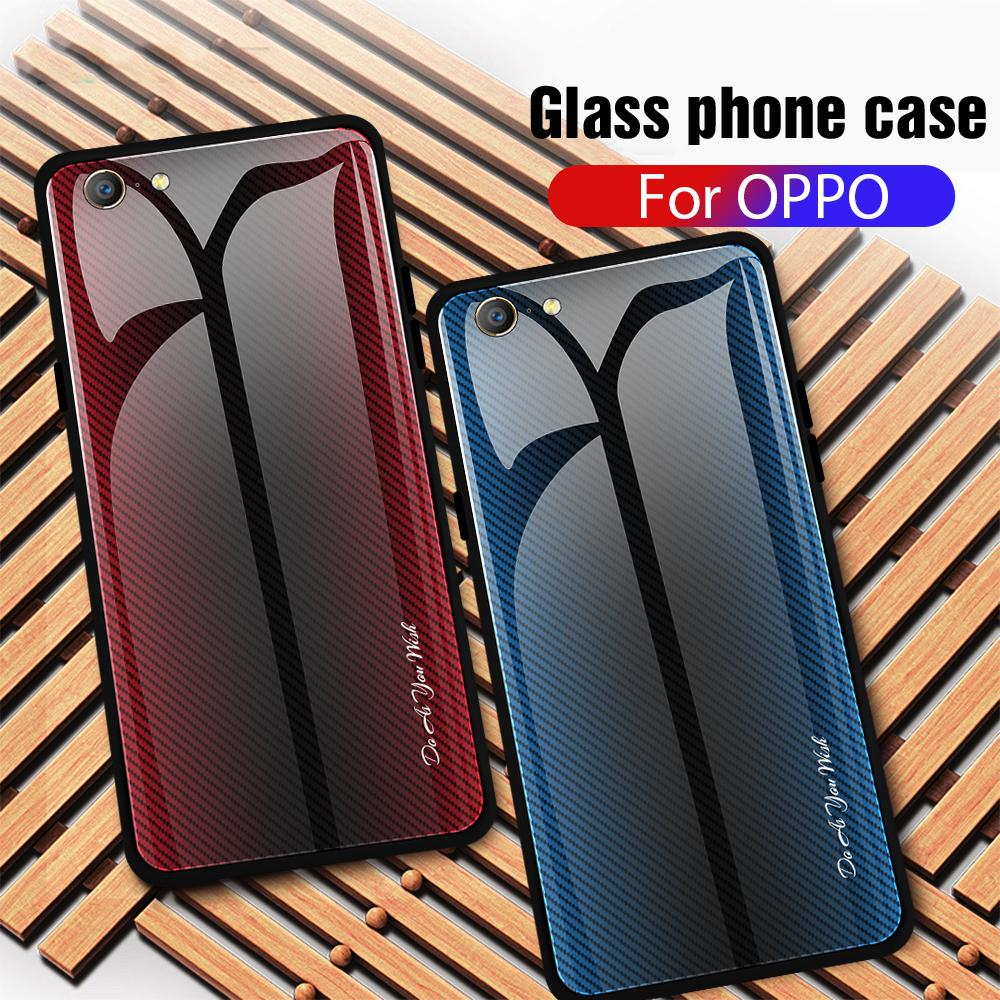 Tempered Glass <font><b>Phone</b></font> <font><b>Case</b></font> For <font><b>OPPO</b></font> Realme X 1 R15X K1 F5 F3 <font><b>F1</b></font> A73 A79 Gradient Stripe Back Cover For <font><b>OPPO</b></font> A35 A39 A57 A33 NEO 7 image